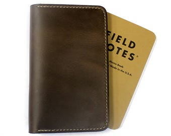 Horween Field notes cover, leather journal cover, Moleskine notebook cover