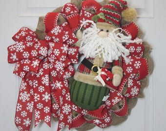 "Christmas Santa Burlap 22""to 24"" Wreath Ready to Ship"