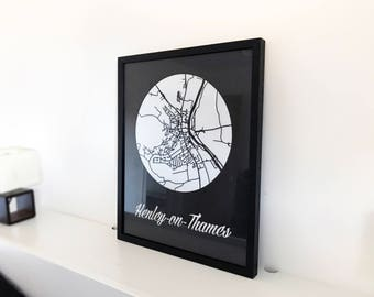 Personalised Map - Village Map - Town Map - Local Area Map - Housewarming - Unique Gift - Laser Cut - Minimal