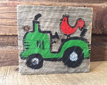 Mini wood paintings •  Farm Tracktor painted on Wood • Tiny Tractor with Rooster • Home Decor