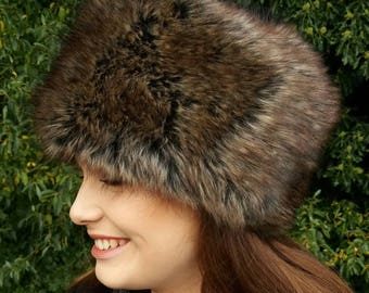 Faux Mink Fur Hat with Cosy Polar Fleece Lining