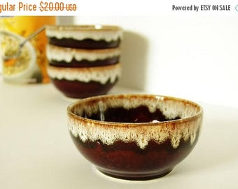 On Sale Vintage Brown Drip Pottery Bowls - Cereal - Soup Bowls - USA
