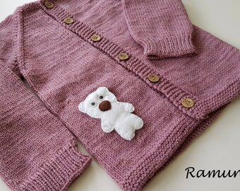 Pink merino wool sweater for children / Pink hand knitted cardigan for baby - kids/ Children sweater, jacket