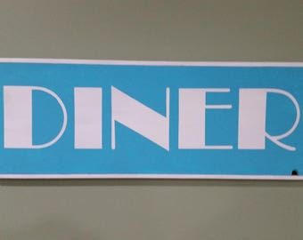 DINER~Blue and White Wooden Sign