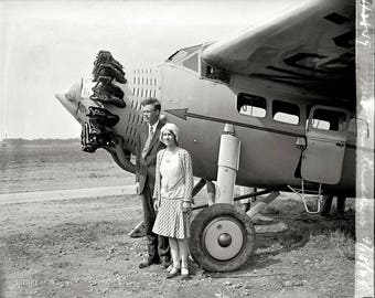 Charles Lindbergh and Anne Morrow Lindbergh at Bolling Field en route to South America in 1929