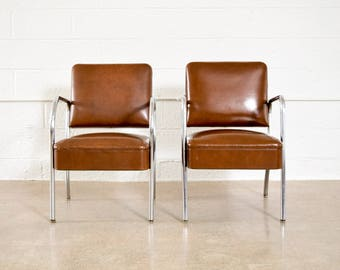 Mid Century Chairs, Pair of Modernist Tubular Chrome and Vinyl Club Chairs, Royal Metal Co., Vintage