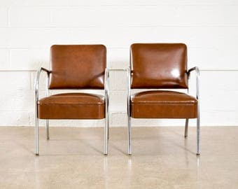 Mid Century Chairs, Pair Of Modernist Tubular Chrome And Vinyl Club Chairs,  Royal Metal