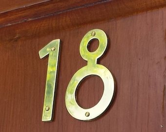 "Brass Mission Mackintosh  house numbers -  75mm/3"" high cutout. handmade in polished or hammered finish g"