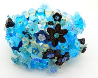 Aqua Blue Glass Flower Memory Coil Bracelet, Necklace