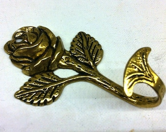 solid brass flower with leafs wall hanging hook metal rose wall hook