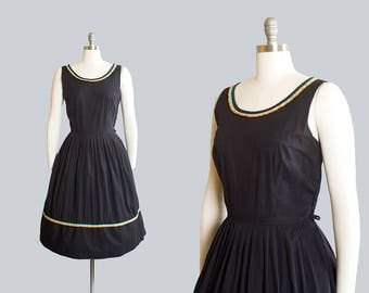 Vintage 1950s Dress | 50s Black Cotton Sundress Striped Trim Full Skirt Sleeveless Day Dress (large)