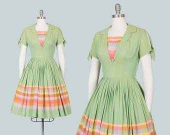 Vintage 1950s Dress | 50s Striped Checkered Border Print Cotton Green Rainbow Full Skirt Day Dress (small)