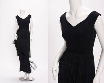 black fringed evening gown vintage 1960s • Revival Vintage Boutique