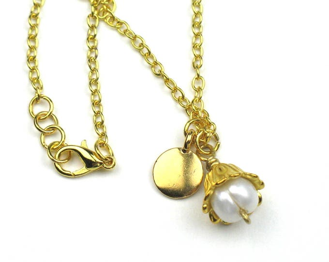 Gold Chain Charm Necklace with White Baroque Pearl and Gold Tierra Cast Disc