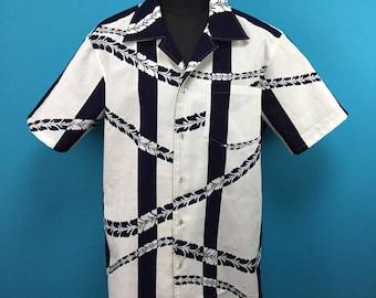 Vintage yukata shirt, indigo dye, kimono shirt, Cotton kimono Hawaiian shirt, Japanese fabric, US size L