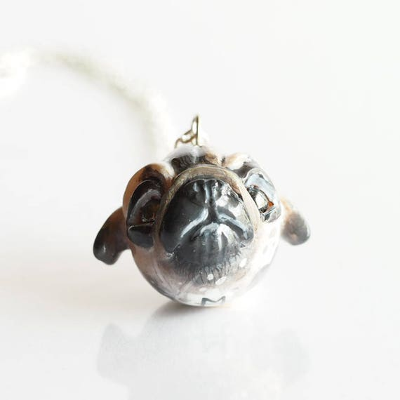FULL MOON BABY, Pug- Handmade Polymer Clay Sculpture