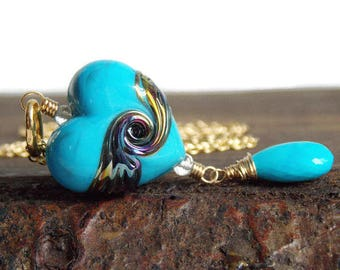 Turquoise Artisan Heart Necklace. Luxe Lampwork Jewelry. Romantic Jewelry
