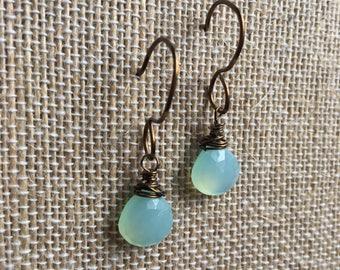 Aqua Blue Chalecadony briolette and Antique Bronze dangle earring