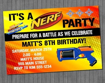 ON SALE Nerf Party Invitation