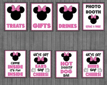 FLASH SALE Minnie Mouse Birthday Sign Package,  Black Pink