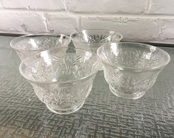 Anchor Hocking Sandwich Pattern Crystal Color Custard Cups