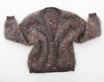 Vintage sweater // Mohair chunky hand knit cardigan // slouchy sweater // popcorn knit