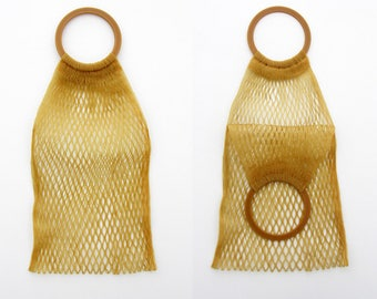 Vintage Tote // 70's Mustard Woven Plastic Handbag // Market Bag