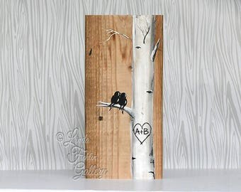 Love Birds Art Rustic Wood Signs Reclaimed Wood Art Birch Tree Aspen Tree Painting Wood 5th Anniversary Gift Custom Wedding Gift for Couple