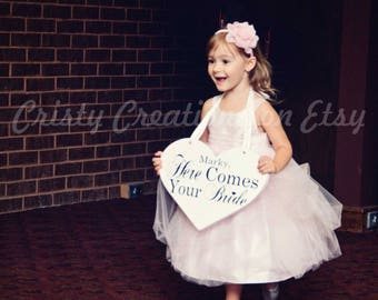 "Wedding Heart Sign - Personalized ""Here Comes Your Bride"" Heart Sign"