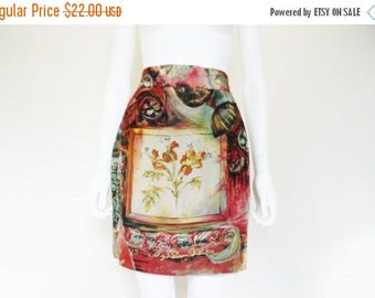 25% off SALE 90s Painterly Print 90's High Waist Skirt