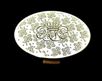 Alexandra de Markoff Compact White Enamel Powder and Mirror