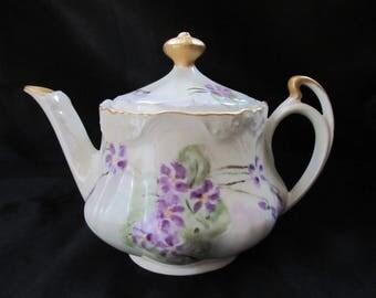 Z. S. & Co, Bavaria, Individual Teapot Handpainted Violets