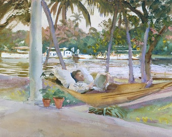 "John Singer Sargent : ""Figure in a Hammock, Florida"" (1917) - Giclee Fine Art Print"