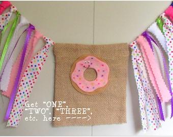 Donut High Chair Banner, Donut First Birthday Banner, Donut Party, Pink High Chair Banner, Donut Banner, Donut Birthday Decorations, Donuts