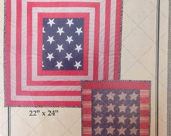 Americana Patriotic flag quilt sewing pattern - Stars and Stripes