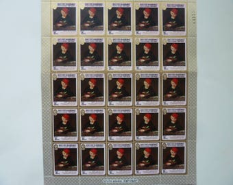 Manet - Sheet of Unused Fine Art Postage Stamps for Collections, Decoupage, Paper Crafts, Collage and More