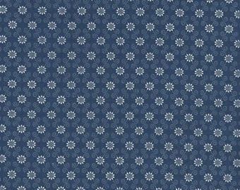 RJR Redwork Meets Bluework Blue with White Little Flower Floral Fabric 2432-002 BTY