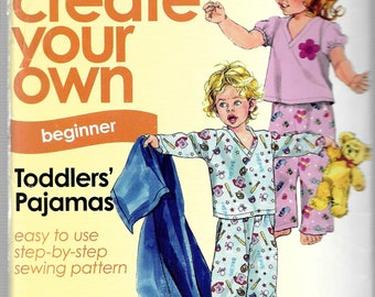 For Beginners! It's Sew Easy It's Simplicity Pattern 2734 TODDLER PAJAMAS w/Knit TOP Sizes 1/2 1 2 3 4