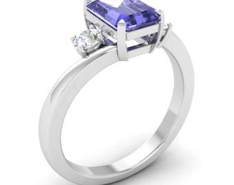 Natural Tanzanite Engagement Ring | Tanzanite With Diamond In 14K Gold | Tanzanite Emerald Cut | Cerified Tanzanite & Real  SI Diamond Ring