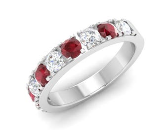 Ruby Wedding Ring, 14K White Gold, Unique Engagement Ring, Eternity Ring, Anniversary Ring, With Diamond Wedding Ring, Ruby Engagement Ring
