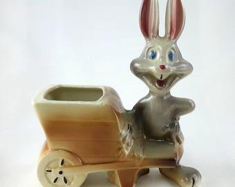 Bugs Bunny Figurine Wheelbarrow Planter Leeds Pottery 1940s Warner Cartoon