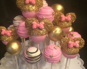 12 SOLID GOLD Minnie Mouse cake pop Assortment, Red Minnie or Pink Minnie Mouse.