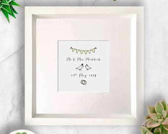 Bunting, Birds and Rings Personalised Wedding Art/Gift, Wedding Gift, Gift for Wedding, Wedding Present, Love Birds, Personalised Wedding