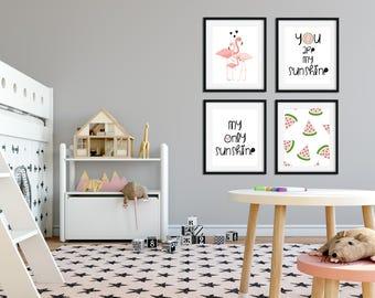 Nursery wall art, Pink and gold nursery decor, Black and white nursery, Nursery Art, Watermelon nursery