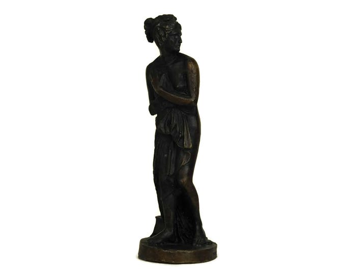 French Vintage Bronze Reproduction of the Venus Italica by Antonio Canova Statuette. Naked Woman Figurine.
