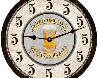 Beer Thirty Clock- Personalized Bar Clock- Five O'Clock Somewhere Personalized Clock