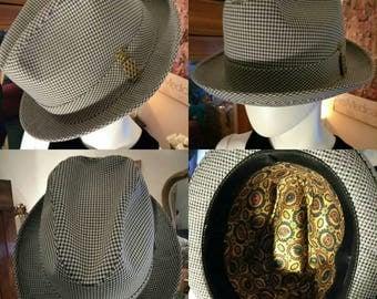 Vintage men's size 7 1/2 Fedora hat houndsooth pattern hat vintage hat men's hats size 7 1/2 men's 1960's Fedora men's caps men's Fedora