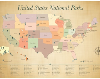 Us National Park Map Etsy - Map with national parks in the us