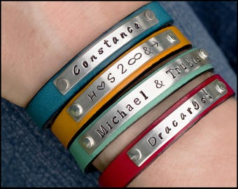 Personalized Leather Bracelet, Women's Leather Bracelet, Name Bracelet, Girlfriend Gift, BFF Gift, Women's ID Bracelet, Custom Cuff Bracelet