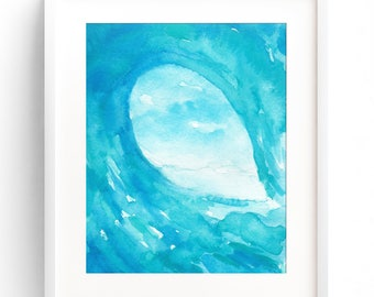 INSTANT DOWNLOAD, Watercolor Wave, Nursery Wall Art, Surf Print, Surf Art, Wave Art, Beach Art, Wave Print, Wave Painting, Surf Painting